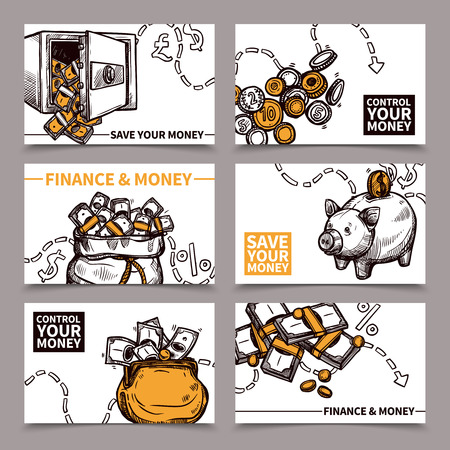 secure money: Business finance 6 cards composition with secure reliable saving money tips pictograms doodle abstract vector isolated illustration Illustration