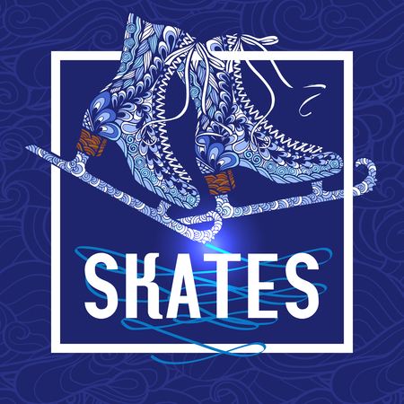 ice surface: Old fashion ice skates with shimmering silver blades doodle style pictogram with blue background abstract vector illustration Illustration
