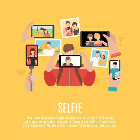 special moments: Selfie pictures taking flat icons composition poster of your own photo  and with friends abstract  vector illustration Illustration