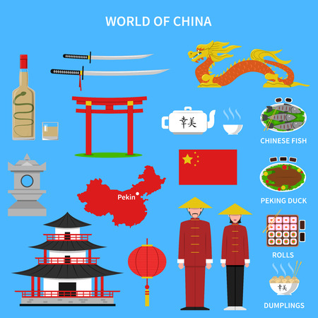 halberd: China icons set with traditional food and clothes on blue background flat isolated vector illustration