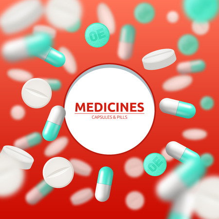 white pills: Medical background with white and green pills and capsules vector illustration