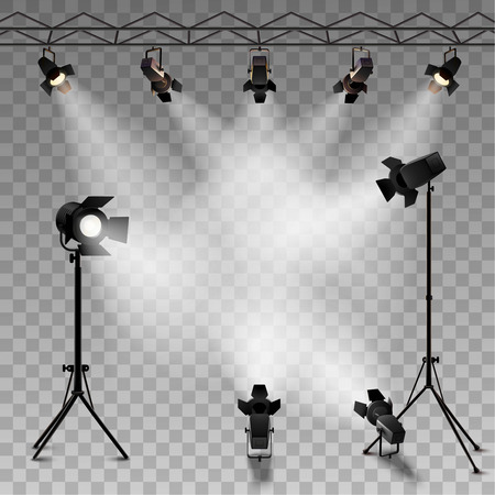 Spotlights realistic transparent background for show contest or interview vector illustration Çizim