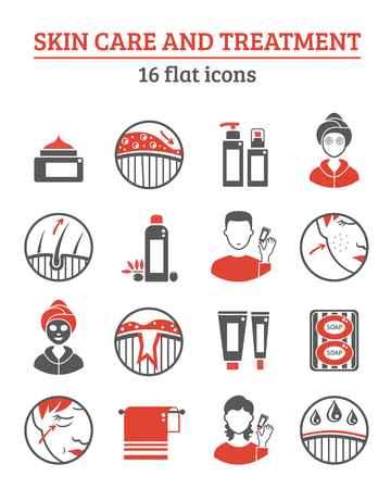 skin problem: Skin cosmetics and treatment red black icons set with creams and oil flat isolated vector illustration Illustration