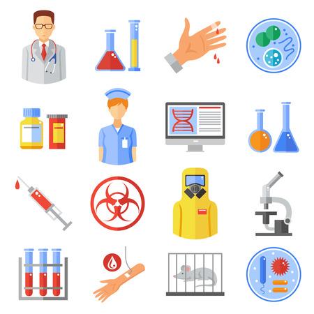 microbiologia: Iconos Microbiología establecen con experimentos de investigación y símbolos de armas bio plana aislado ilustración vectorial