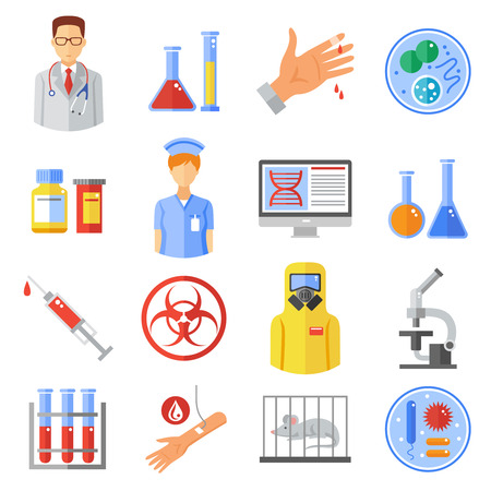 bacteria microscope: Microbiology icons set with research experiments and bio weapon symbols flat isolated vector illustration
