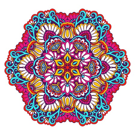 esoteric: Decorative mandala traditional esoteric symbol isolated on white background colored vector illustration