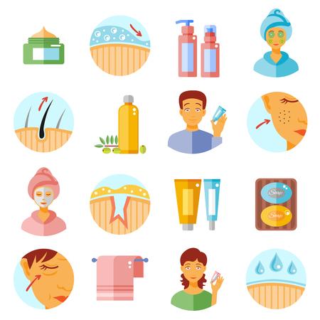 Icônes de soins de la peau exposées avec des produits cosmétiques et des problèmes symboles plat isolé illustration vectorielle