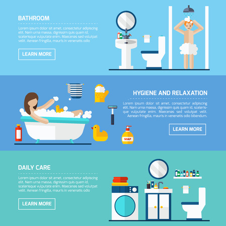 the hygiene: Daily shower for hygiene and relaxation flat horizontal banners set interactive webpage abstract isolated vector illustration Illustration