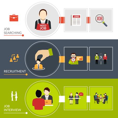 recruitment: Recruitment horizontal banner set with job searching elements isolated vector illustration Illustration