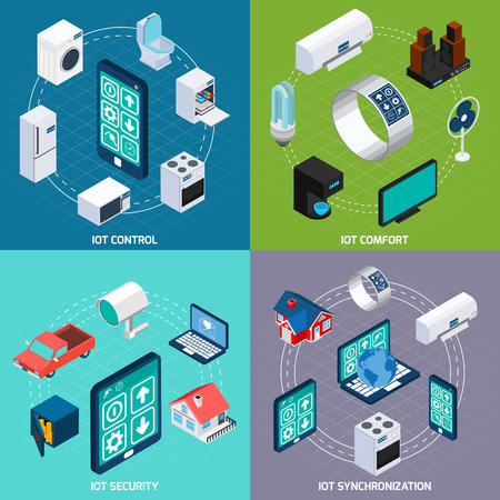 Iot household devices synchronization for comfort and security 4 isometric icons square composition banner abstract vector illustration.  Illustration