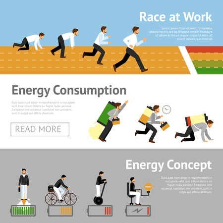 booster: Businessman productivity horizontal banner set with energy consumption level isolated vector illustration