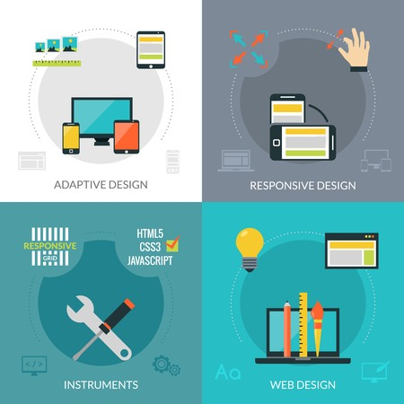 adaptive: Adaptive responsive web design concept set with instruments flat icons isolated vector illustration Illustration
