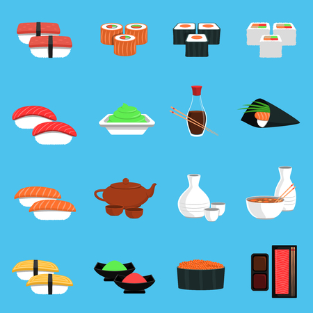 japanese cuisine: Sushi flat icons set with seafood and japanese cuisine food isolated vector illustration