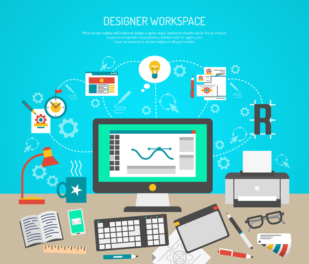 papeles oficina: Designer workspace concept with flat graphic design tools and computer monitor vector illustration