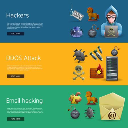 コンピュータ システムと電子メールのハッキング ベクトル図で DDOS 攻撃のハッカー活動のアイコンと水平方向のバナー