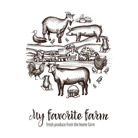 livestock: Farmers market poster with hand drawn livestock animals food and village on background vector illustration Illustration