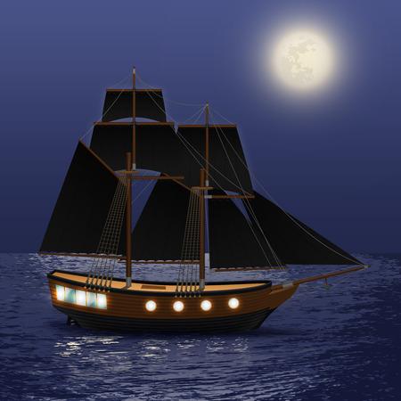vintage ship: Vintage ship with black sails at night sea background vector illustration
