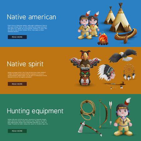 indios americanos: Banderas americanas nativas con la caza atributos nacional y la espiritualidad ilustración vectorial