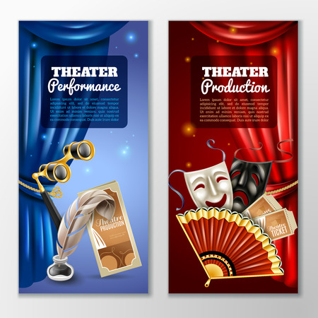theater masks: Theatre realistic vertical banners set with performance and production symbols isolated vector illustration