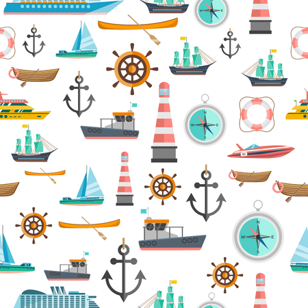 sailboat: Nautical symbols vintage icons seamless tileable pattern with beacon anchor compass and sailboats abstract isolated vector illustration Illustration