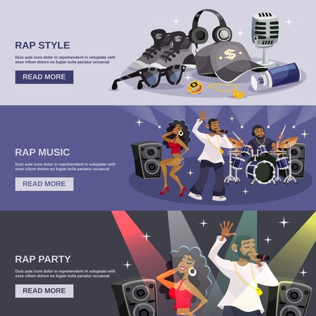 dance hip hop: Rap music horizontal banner set with hip-hop style party elements isolated vector illustration