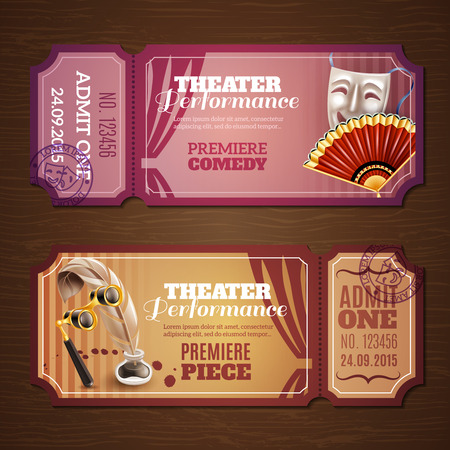 red theater curtain: Theatre tickets on wood horizontal banners set realistic isolated vector illustration