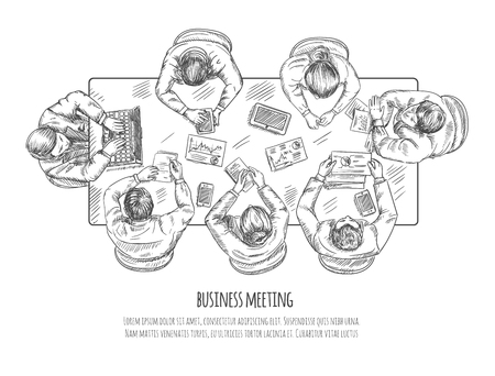 work table: Business meeting professional discussion and teamwork concept sketch vector illustration Illustration
