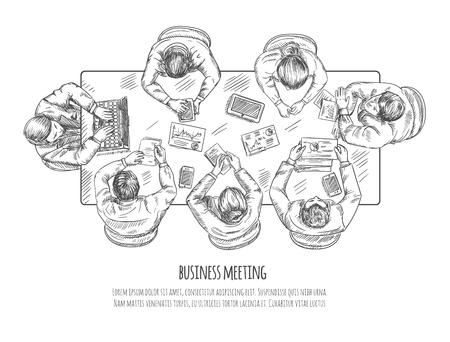 Zakelijke bijeenkomst professionele discussie en teamwork concept schets vector illustratie