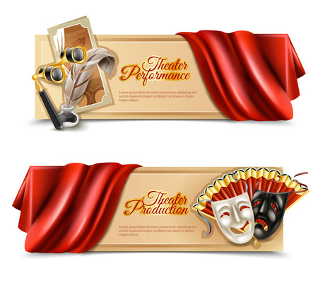 theatre performance: Theatre performance realistic horizontal banners set with curtain and masks isolated vector illustration