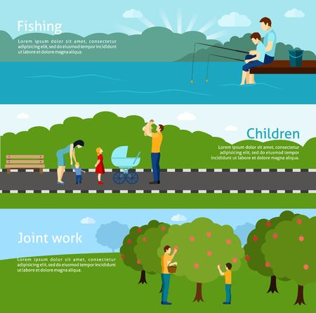 paternidade: Flat  color fatherhood horizontal banners  set with father and his children  vector illustration.