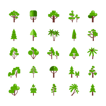 gum tree: Tree set collection flat icons deciduous pine oak spruce fir isolated  vector illustration