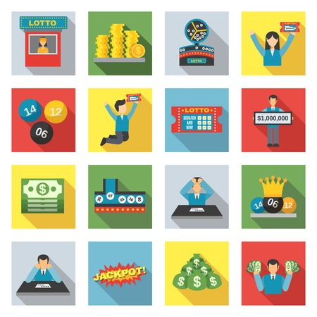 lottery: Lottery winning and luck games icons flat set isolated vector illustration