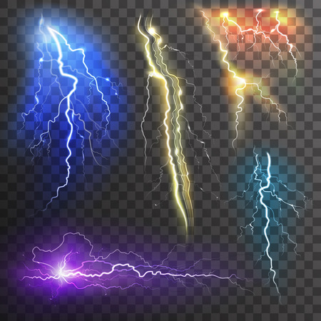 Lightning transparent set in different colors realistic isolated vector illustration