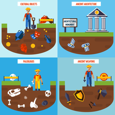 Flat color  archeology design concept set   with people archaeological finds and tools for excavations vector illustration Illustration