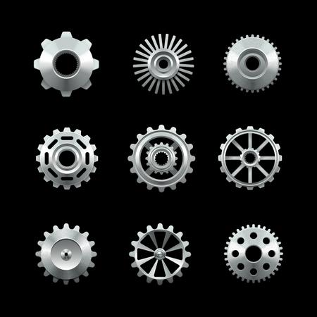 engranes: Engranajes de metal brillante conjunto aislado sobre fondo oscuro ilustración vectorial