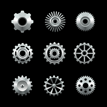 gears: Shiny metal gears set isolated on dark background vector illustration