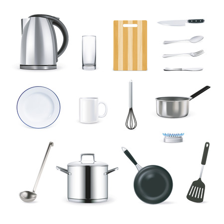 ladle: Realistic kitchen utensils icons set with cup plate ladle and teapot isolated vector illustration