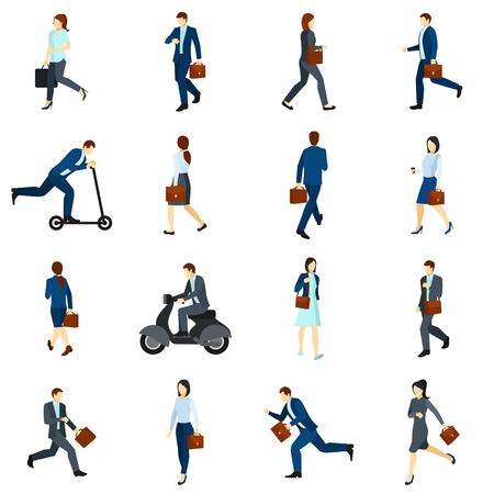 man standing: Flat color  icons set with businesspeople going to work by foot  scooter and  motorcycle isolated vector illustration