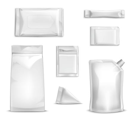 Blank white packaging realistic set for food and sauce isolated vector illustration Ilustração