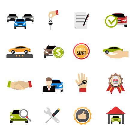 Autodealer pictogrammen die met aankoopprijs en speciale aanbieding symbolen flat geïsoleerd vector illustratie Stock Illustratie