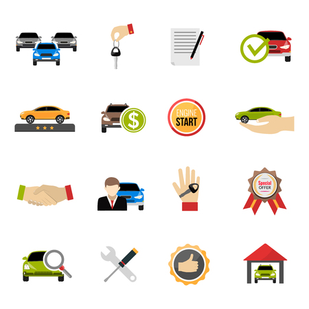 purchase: Car dealership icons set with purchase price and special offer symbols flat isolated vector illustration