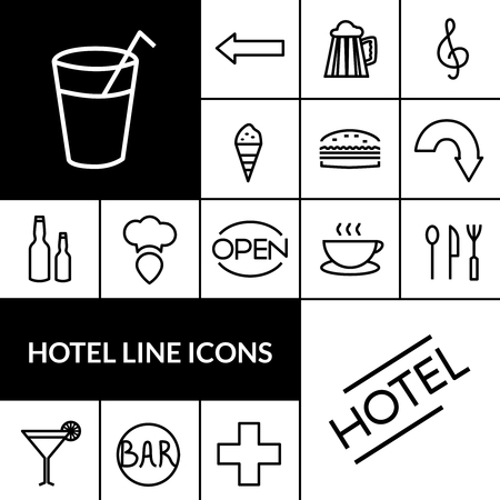 accomodation: Hotel black white line icons set with food and drinks symbols flat isolated vector illustration