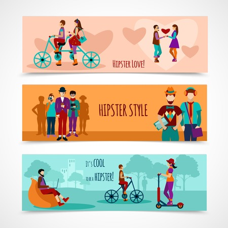 romantic couple: Hipster people horizontal banner set with flat love and leisure elements isolated vector illustration