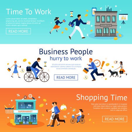 office worker: Business people hurry to work and shopping horizontal banner set isolated vector illustration