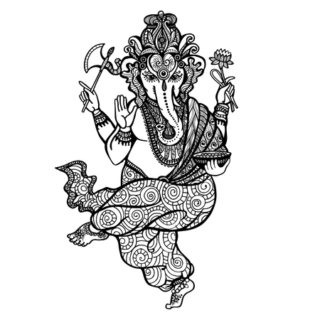 lord: Dancing Hindu religion god Ganesha hand drawn decorative vector illustration