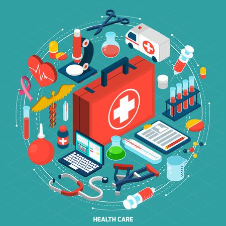 egészségügyi: Egészségügyi menedzsment nemzetközi egészségügyi szervezetek koncepciómodellt izometrikus kerek piktogramok készítmény ikon poszter absztrakt vektoros illusztráció