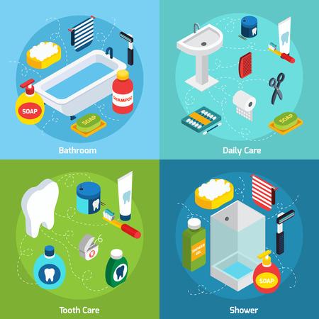 aseo personal: Conjunto concepto isométrico con objetos de baño y medios de higiene personal ilustración vectorial