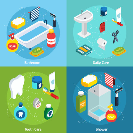 Isometric concept set  with bathroom objects and  means of personal hygiene vector illustration Ilustração