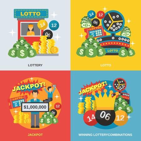 loteria: Loter�a concepto de dise�o de conjunto con las combinaciones ganadoras de s�mbolos planos aislados ilustraci�n vectorial