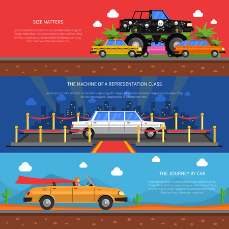 illustration journey: Cars horizontal banners set with representation class cars and journey by car symbols flat isolated vector illustration Illustration